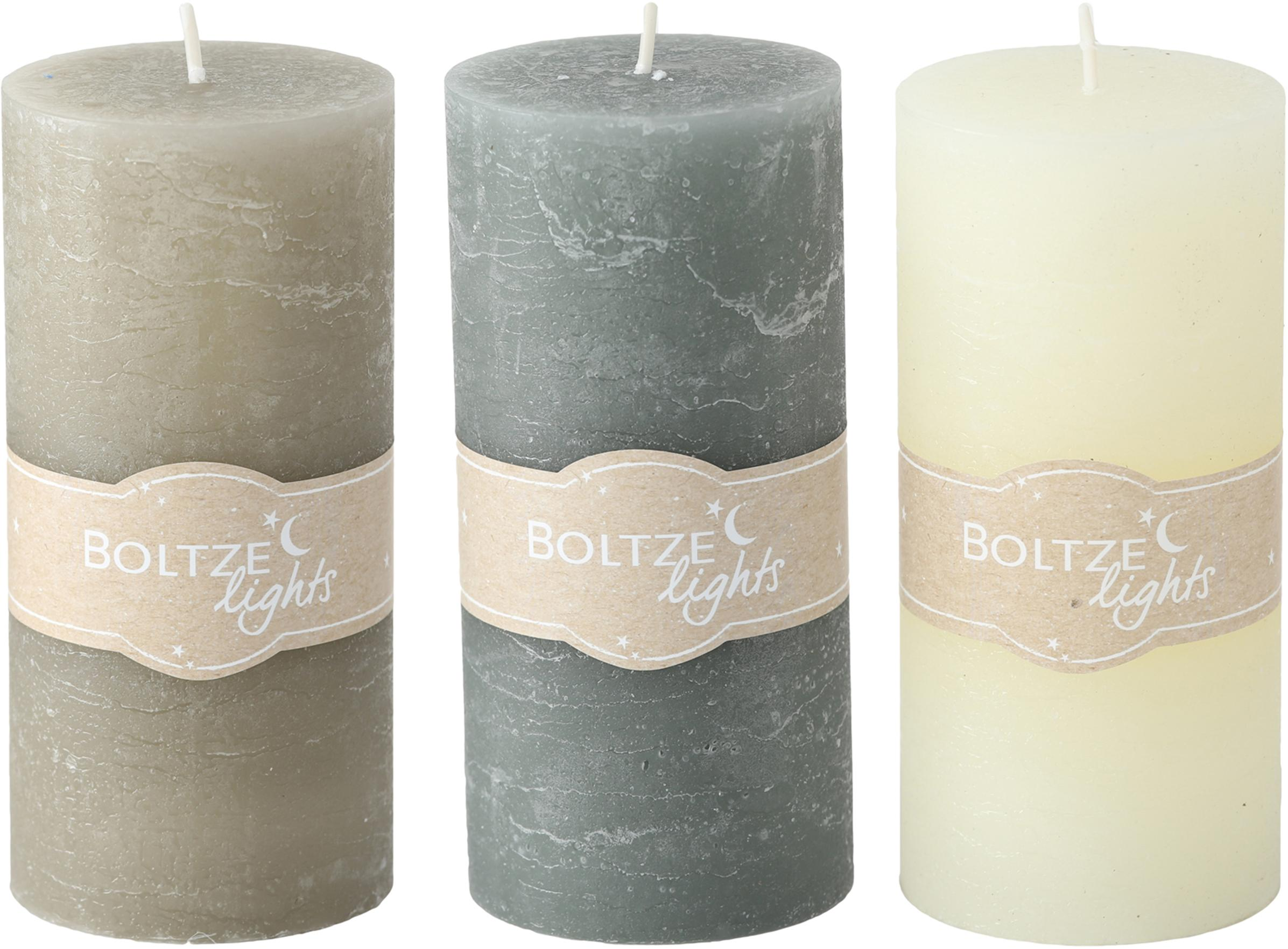 Set 3 candele Trent, Cera, Multicolore, Ø 7 x Alt. 15 cm