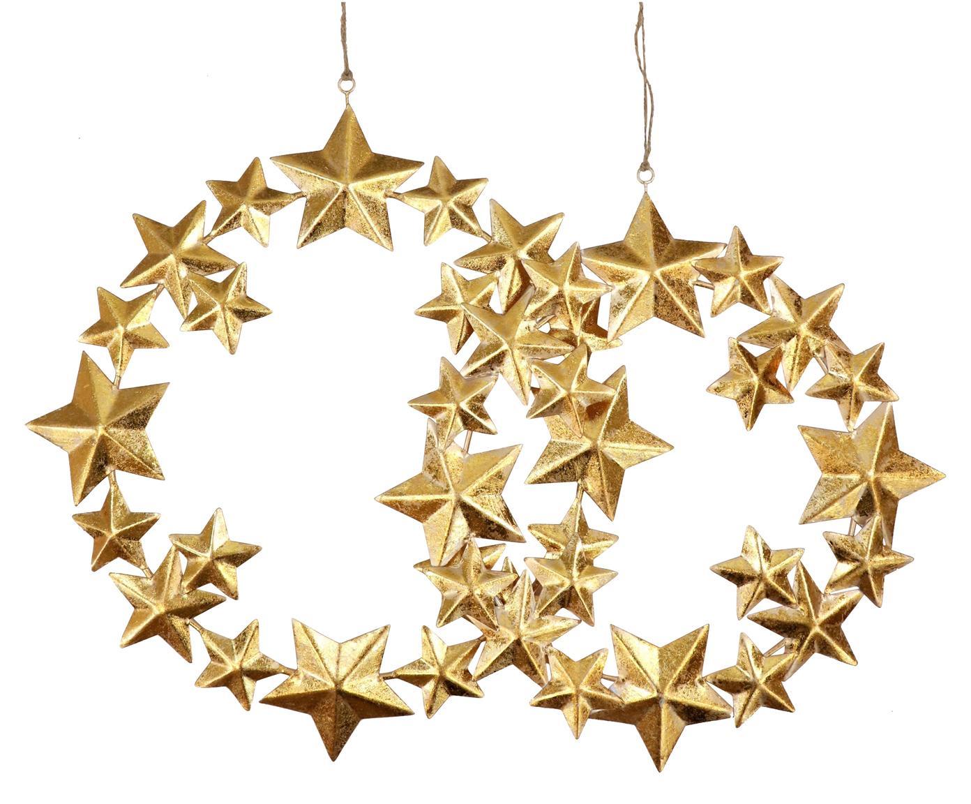 Deko-Anhänger-Set Stars, 2-tlg., Metall, beschichtet, Goldfarben, Sondergrößen