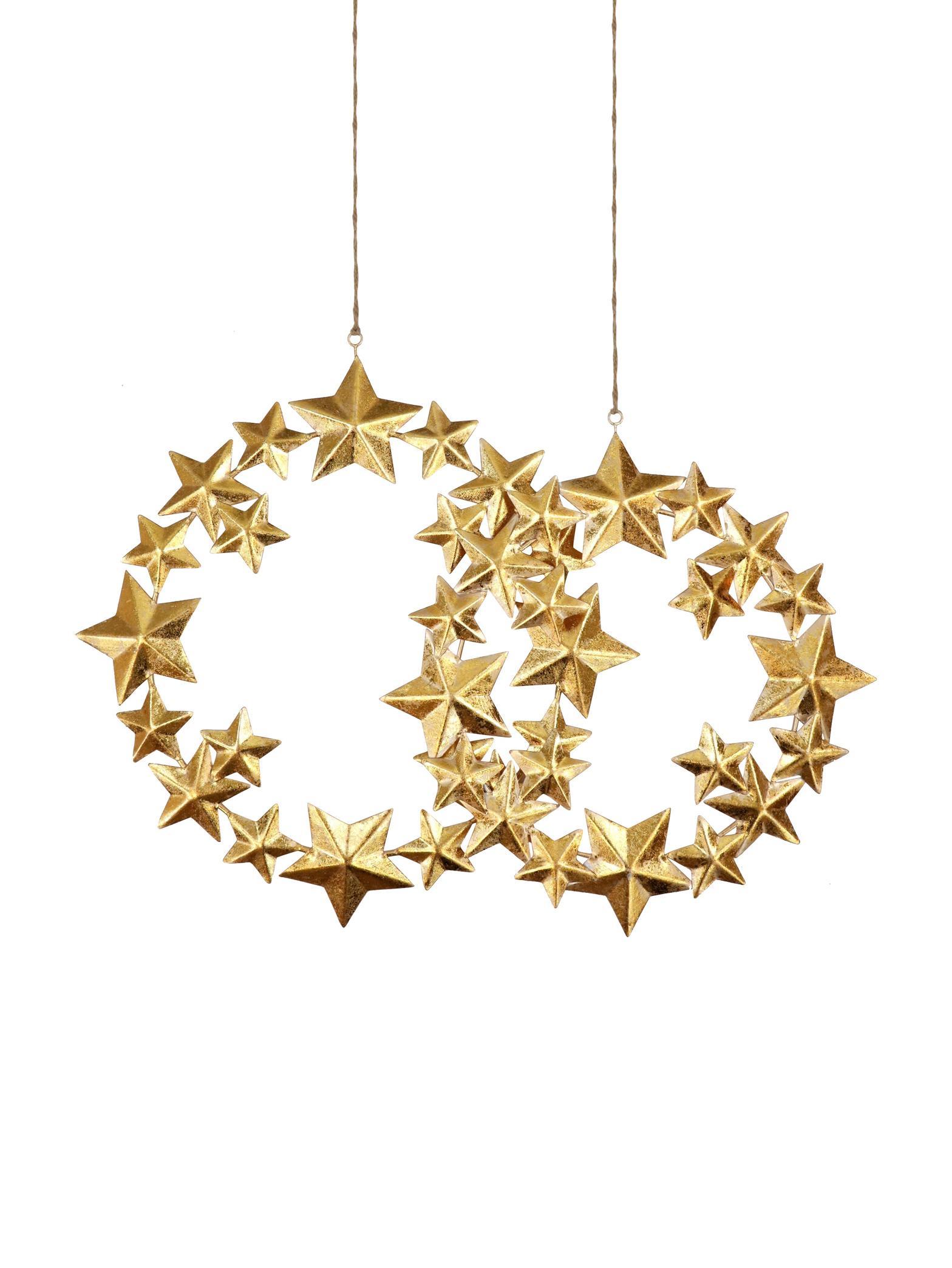 Komplet dekoracji wiszących Stars, 2 elem., Metal powlekany, Odcienie złotego, Komplet z różnymi rozmiarami