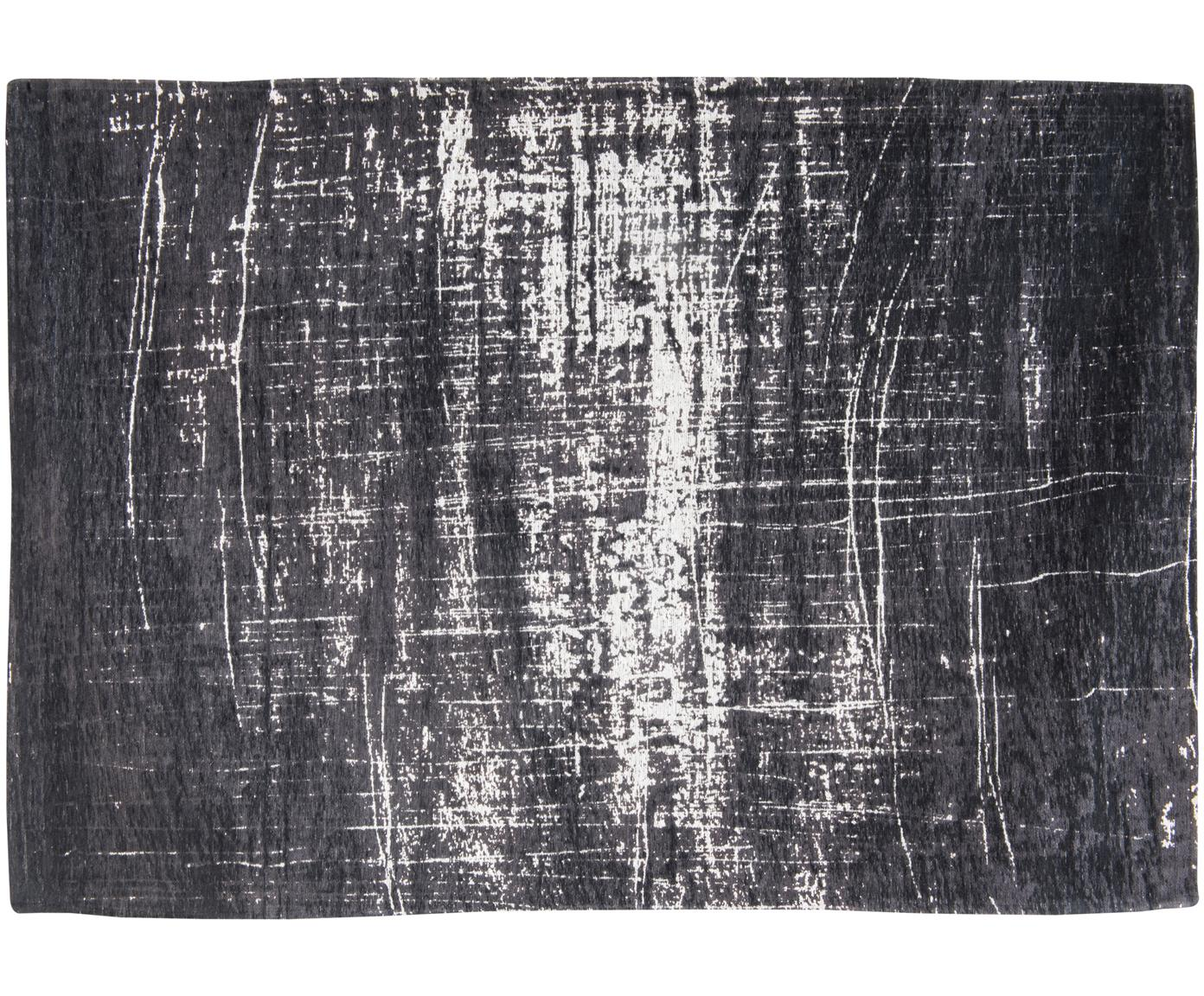 Klein vloerkleed Griff, Bovenzijde: 85%katoen, 15%hoogglanz, Weeftechniek: jacquard, Onderzijde: katoenmix, gecoat met lat, Wit, zwart, 80 x 150 cm