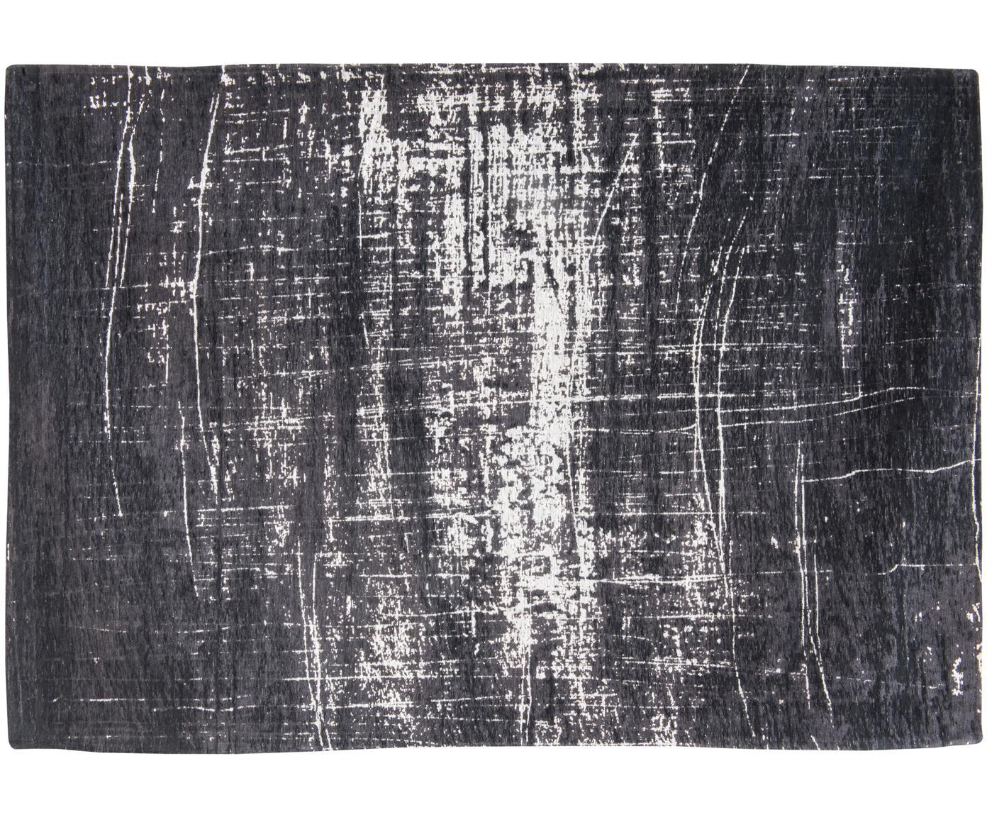 Tappeto in cotone Griff, Tessuto: Jacquard, Retro: Miscela di cotone, rivest, Bianco, nero, Larg. 80 x Lung. 150 cm (taglia XS)