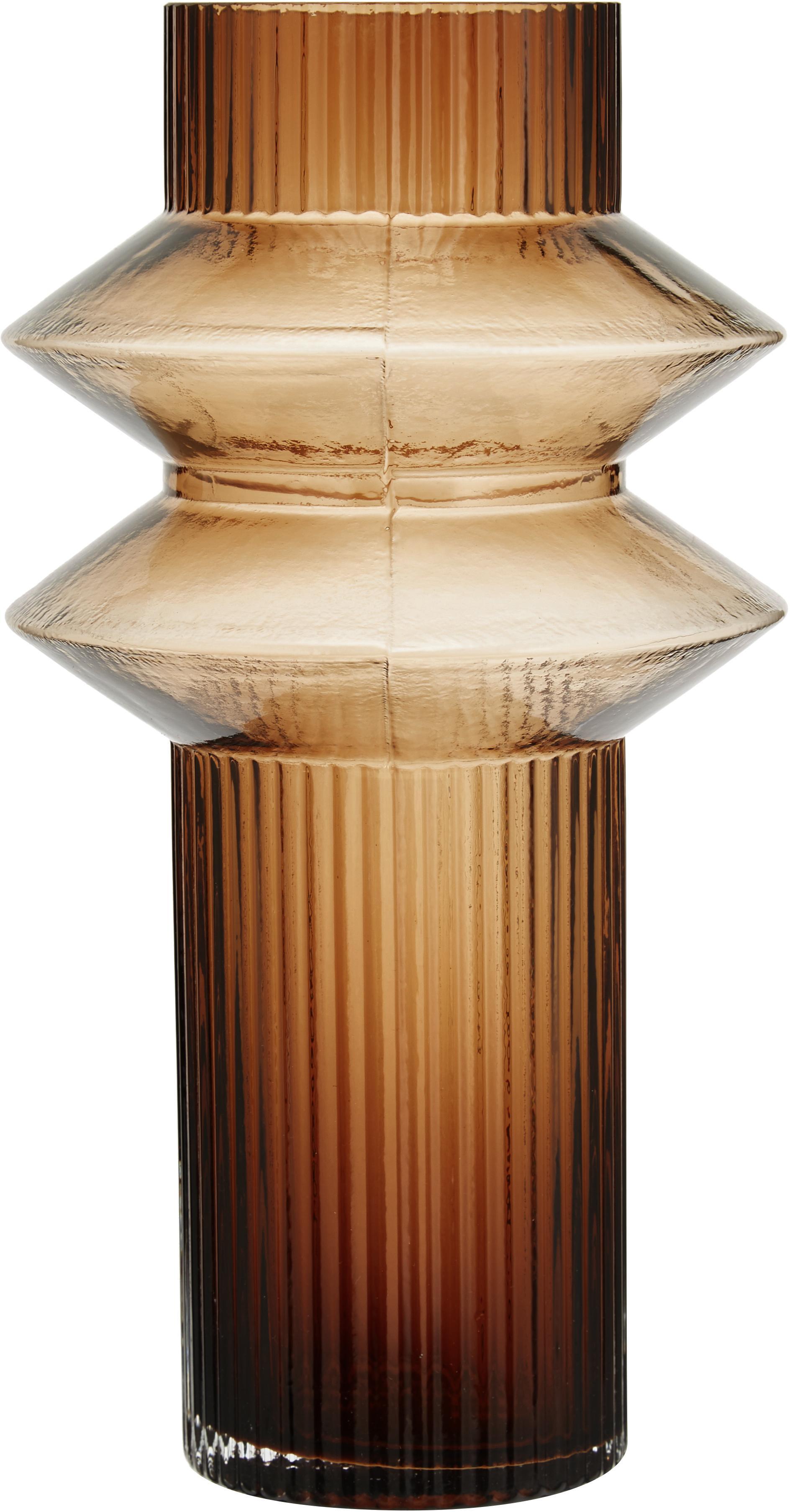 Große Glas-Vase Rilla, Glas, Bernsteinfarben, Ø 15 x H 29 cm