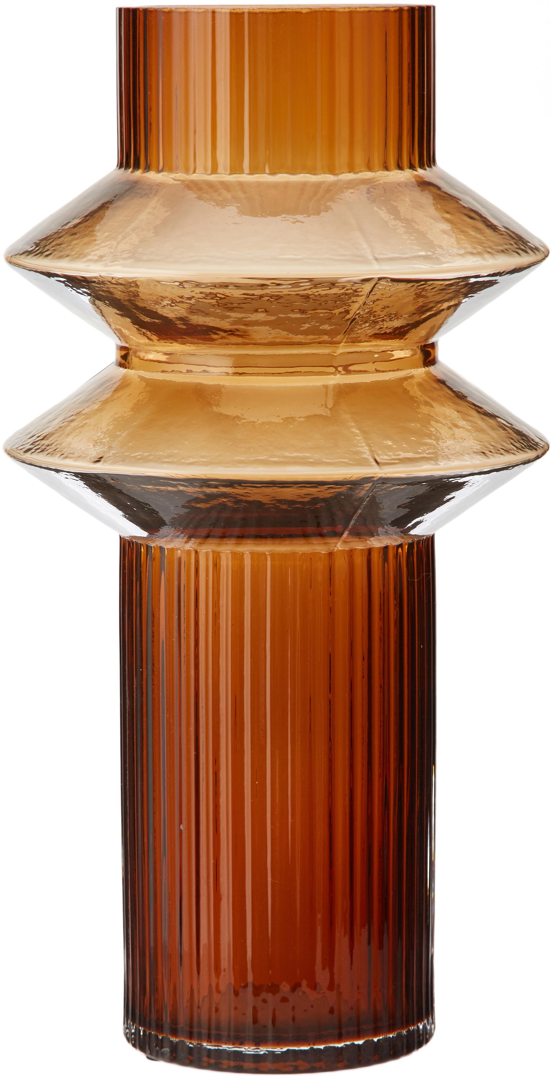 Vaso in vetro Rilla, Vetro, Ambra, Ø 15 x Alt. 29 cm