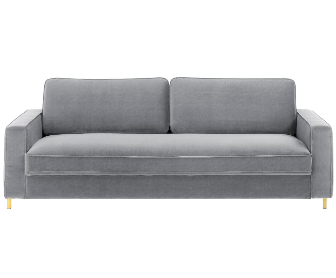 Sofa z aksamitu Chelsea (3-osobowa), Tapicerka: aksamit (wysokiej jakości, Stelaż: lite drewno świerkowe, Nogi: metal malowany proszkowo, Szary, S 228 x G 100 cm