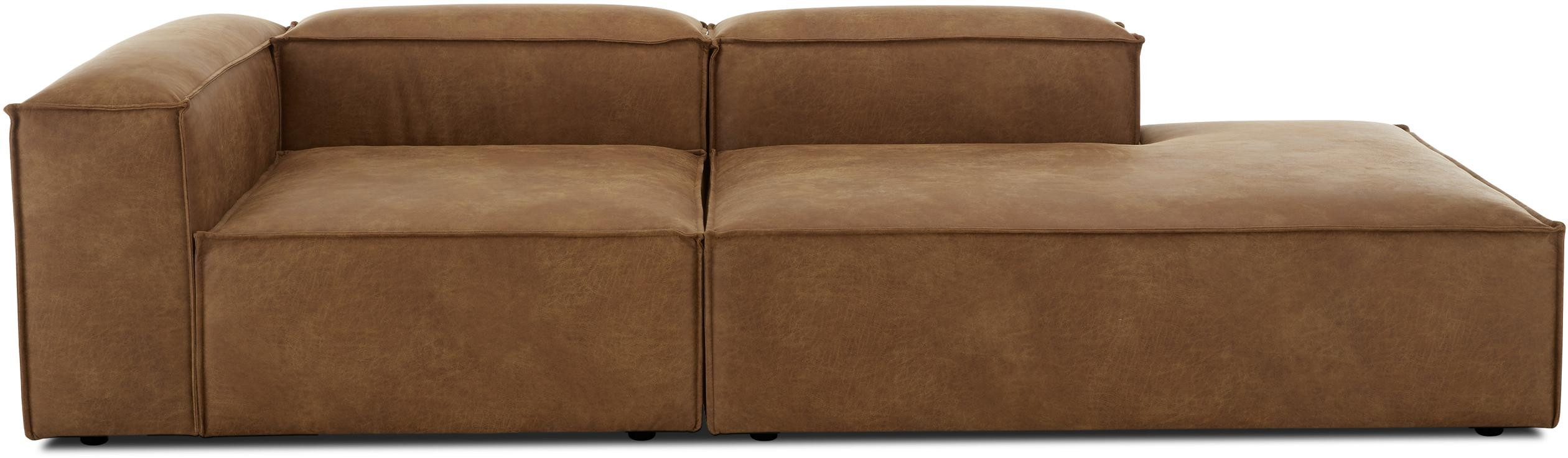 Modulaire leren chaise longue Lennon, Bekleding: 70% leer, 30% polyester, Frame: massief grenenhout, multi, Poten: kunststof, Bruin, B 269 x D 119 cm