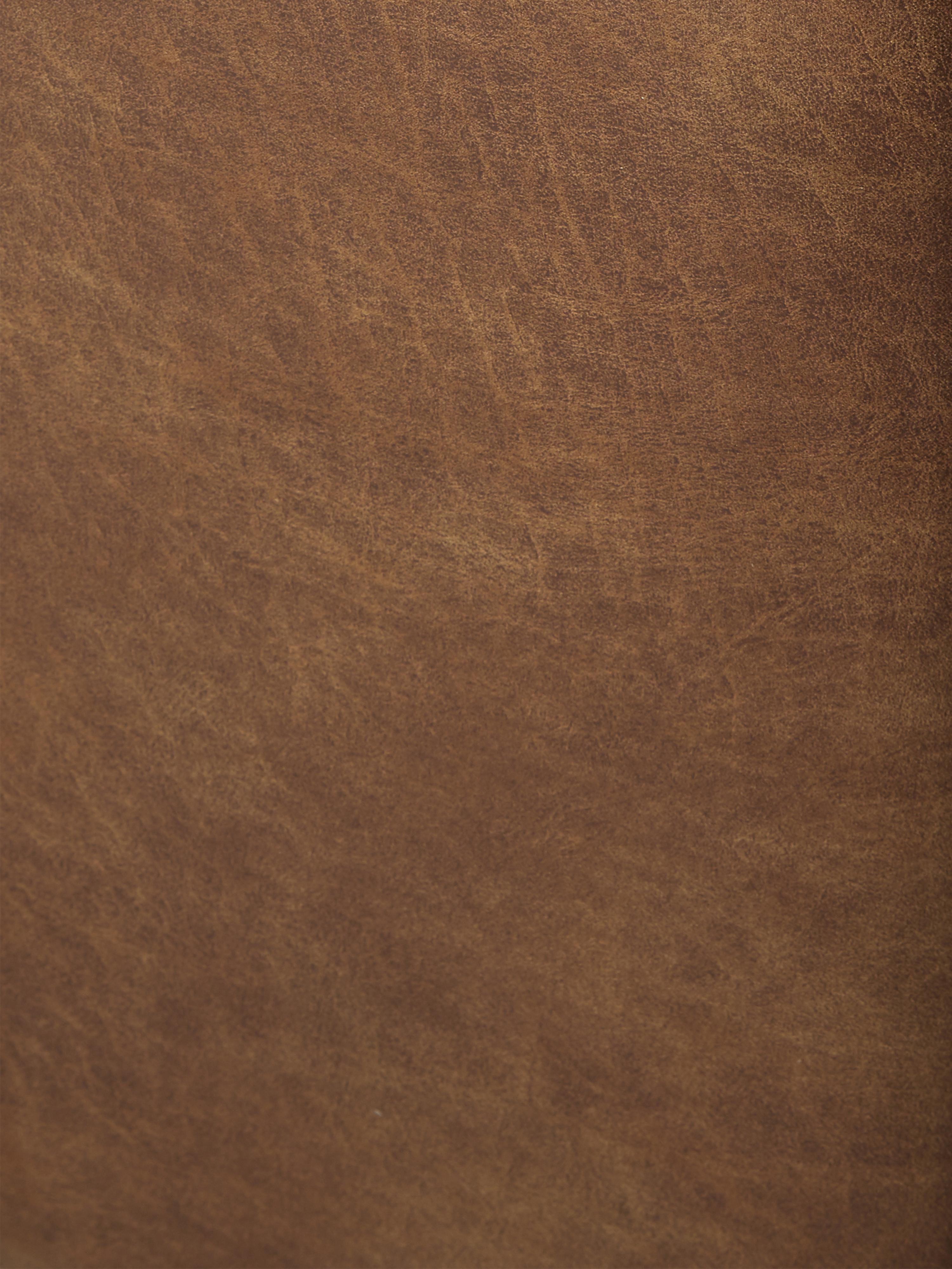 Divano componibile in pelle marrone Lennon, Rivestimento: 70% pelle, 30% poliestere, Struttura: legno di pino massiccio, , Piedini: materiale sintetico, Pelle marrone, Larg. 269 x Prof. 119 cm