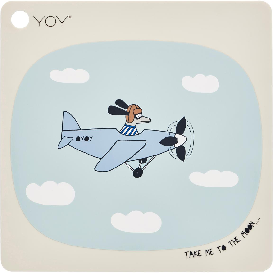 Tischset Aeroplane, Silikon, Beige, Blau, Weiss, Schwarz, Braun, 38 x 38 cm