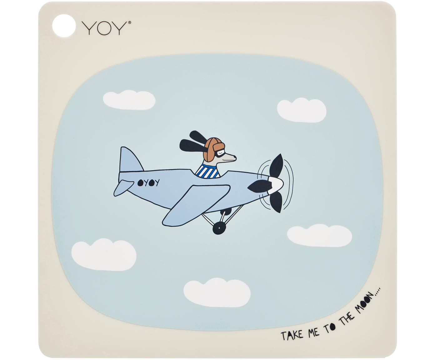 Mantel individual Aeroplane, Silicona, Beige, azul, blanco, negro, marrón, An 38 x L 38 cm