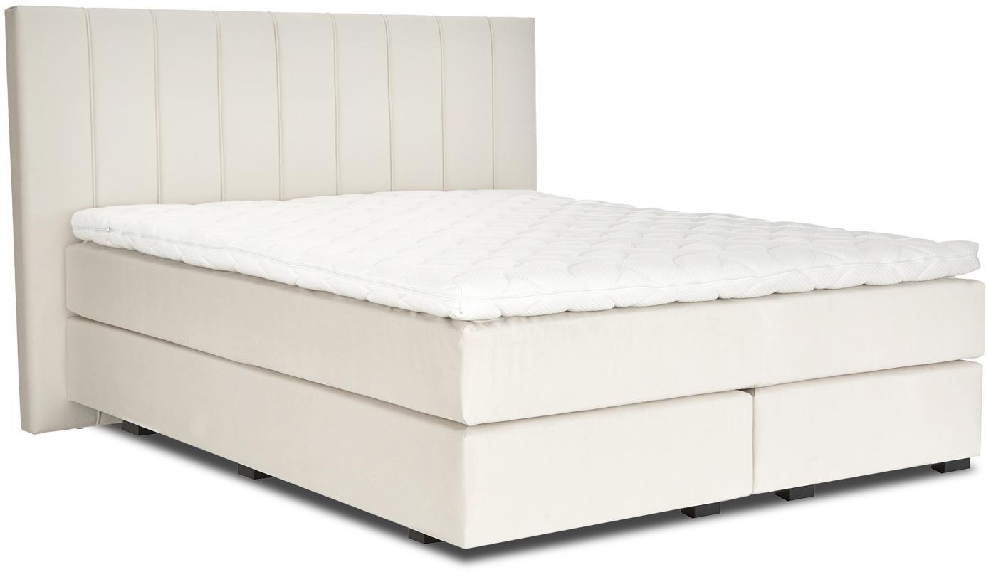 Premium Samt-Boxspringbett Lacey, Matratze: 7-Zonen-Taschenfederkern , Füße: Massives Buchenholz, lack, Beige, 200 x 200 cm