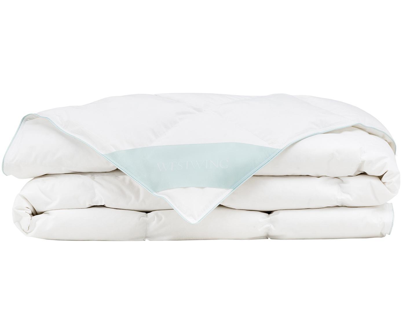 Edredón de plumón Comfort, extra ligero, Funda: 100%algodón, sarga de Ma, Blanco con ribete turquesa satinado, Cama 90 cm (150 x 200 cm)