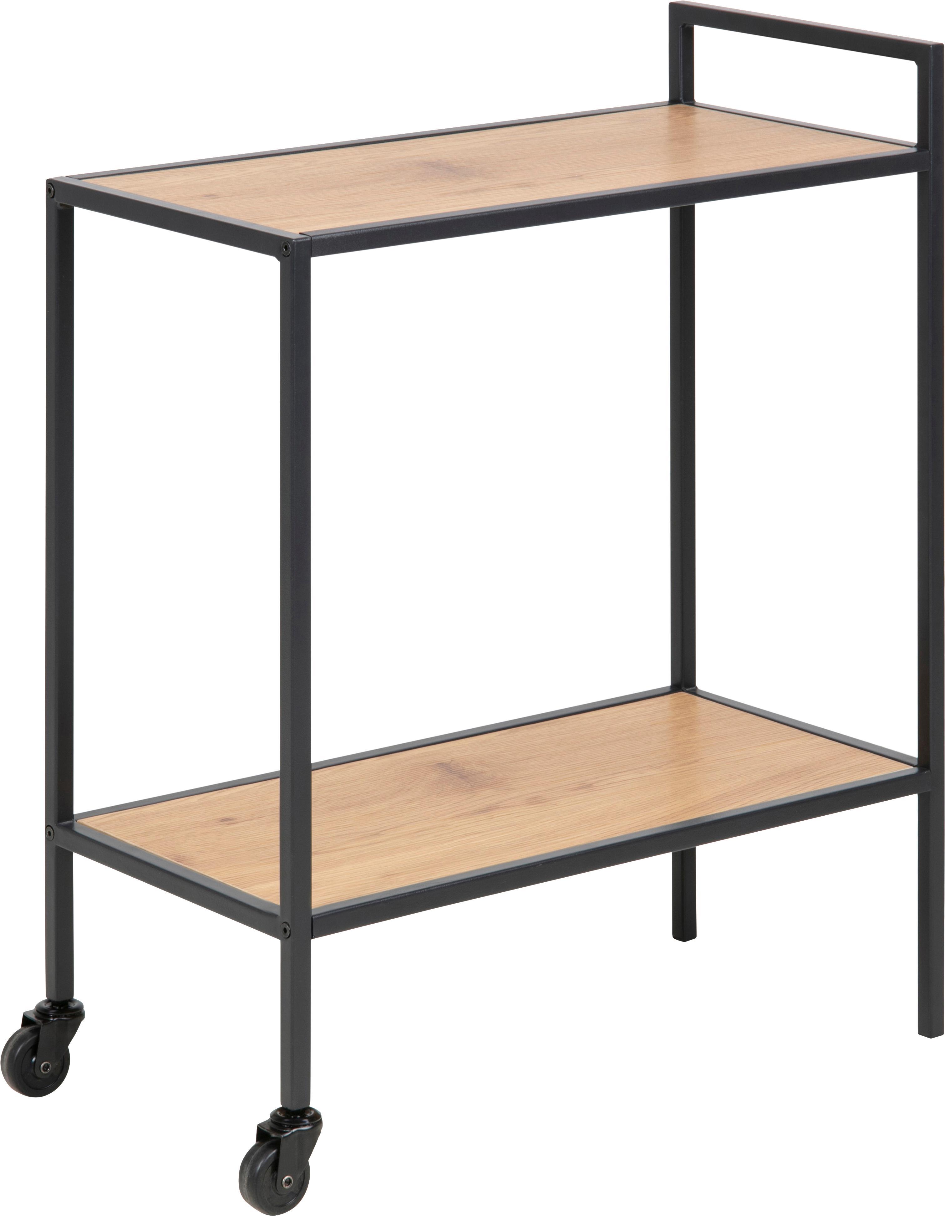 Camarera Seaford, Estantes: tablero de fibras de dens, Estructura: metal con pintura en polv, Roble, negro, An 60 x Al 75 cm