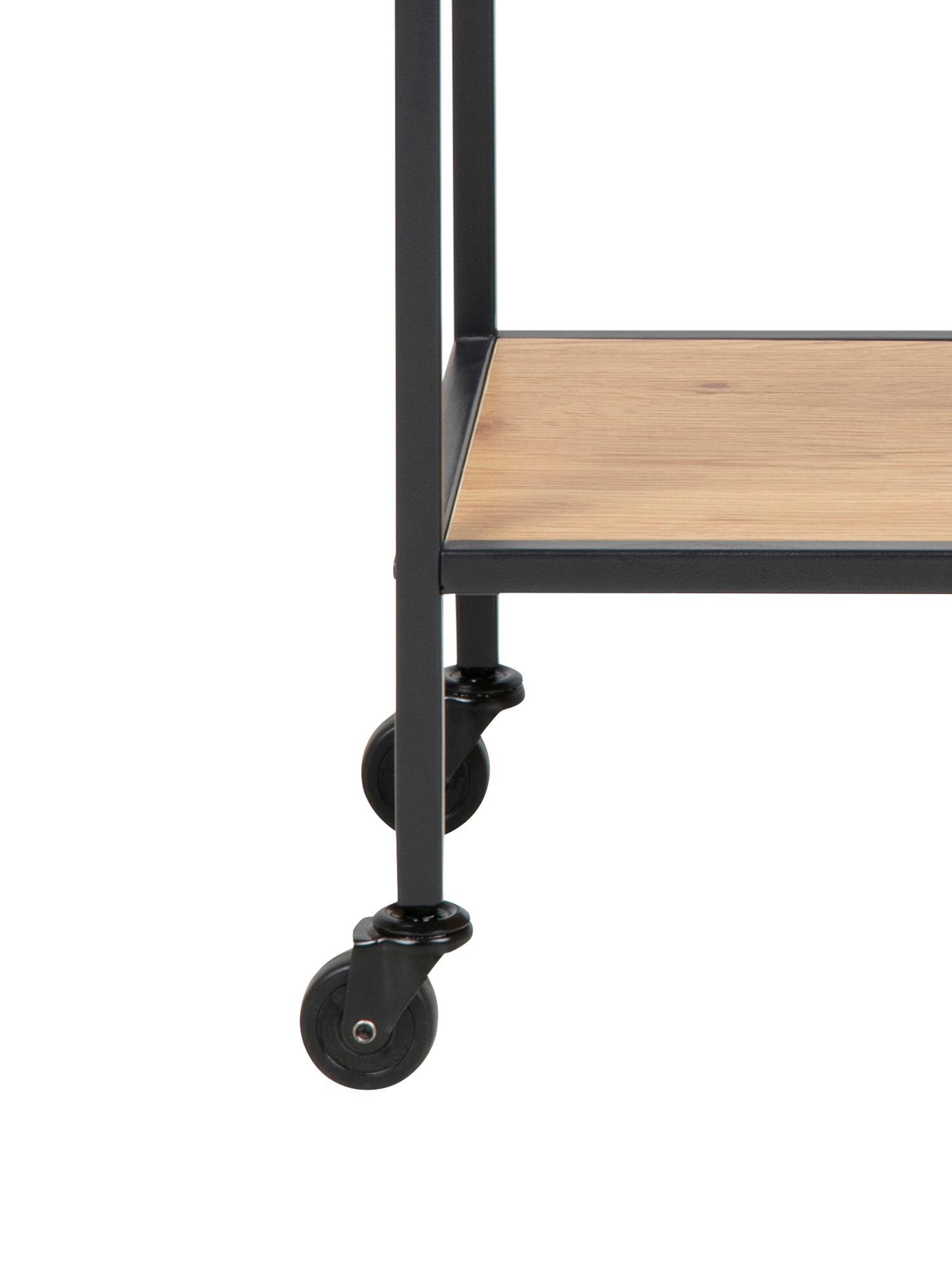 Carrello di servizio in aspetto legno Seaford, Ripiani: pannelli di fibra a media, Struttura: metallo verniciato a polv, Quercia selvatica, nero, Larg. 60 x Alt. 75 cm