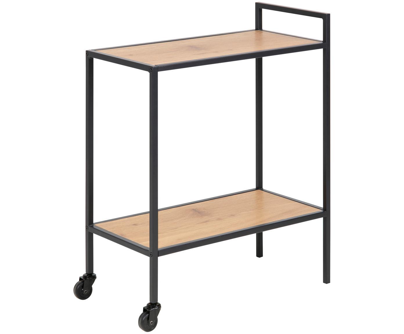 Bar cart Seaford in houten look, Plateaus: MDF, Frame: gepoedercoat metaal, Eikenhoutkleurig, zwart, 60 x 75 cm