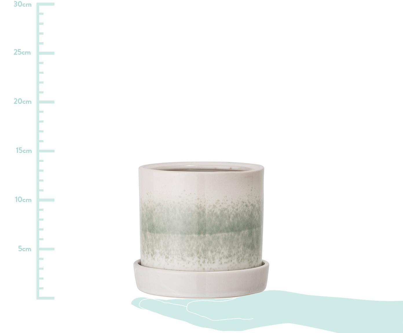 Ręcznie wykonana doniczka Nila, Kamionka, Zielony, beżowy, Ø 14 x W 13 cm