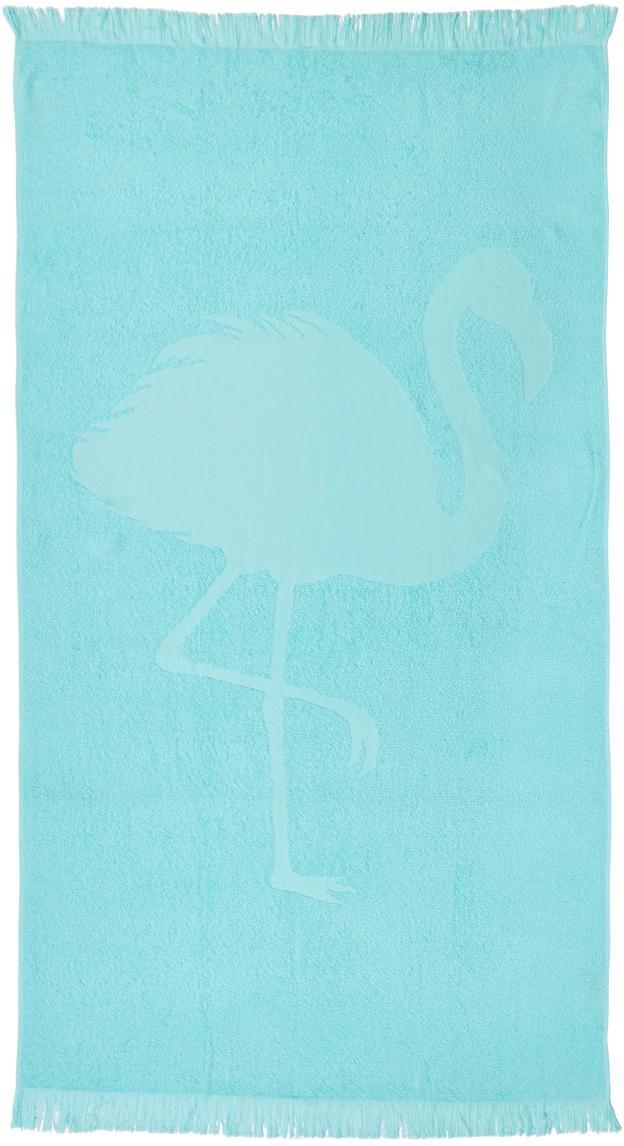 Telo mare in cotone Capri Flamingo, Turchese, Larg. 90 x Lung. 160 cm