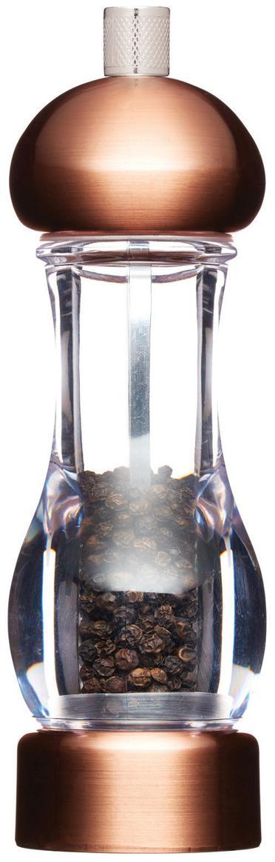 Molinillo de pimienta Master, Estructura: acrílico, cobre cepillado, Grinder: cerámica, Carbonstahl, Cobre cepillado, Ø 6 x Al 19cm