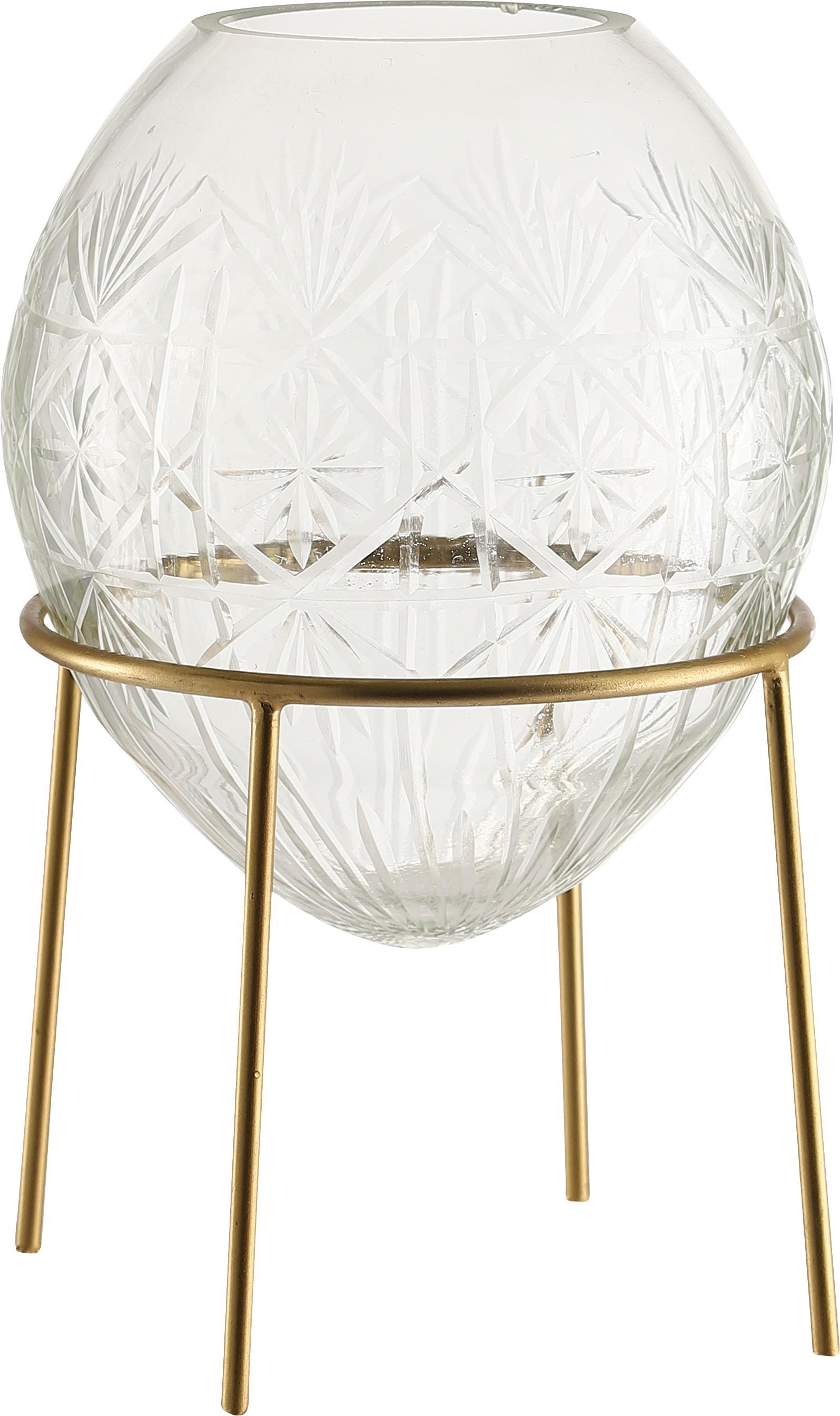 Vase Ronda, Gestell: Metall, beschichtet, Vase: Glas, Goldfarben, Transparent, Ø 19 x H 22 cm
