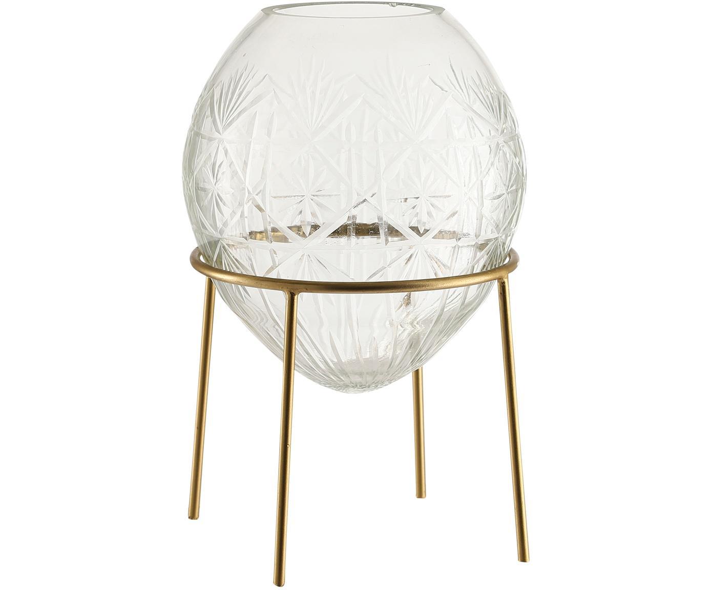 Vaso in vetro Ronda, Struttura: metallo rivestito, Vaso: vetro, Dorato trasparente, Ø 19 x Alt. 22 cm