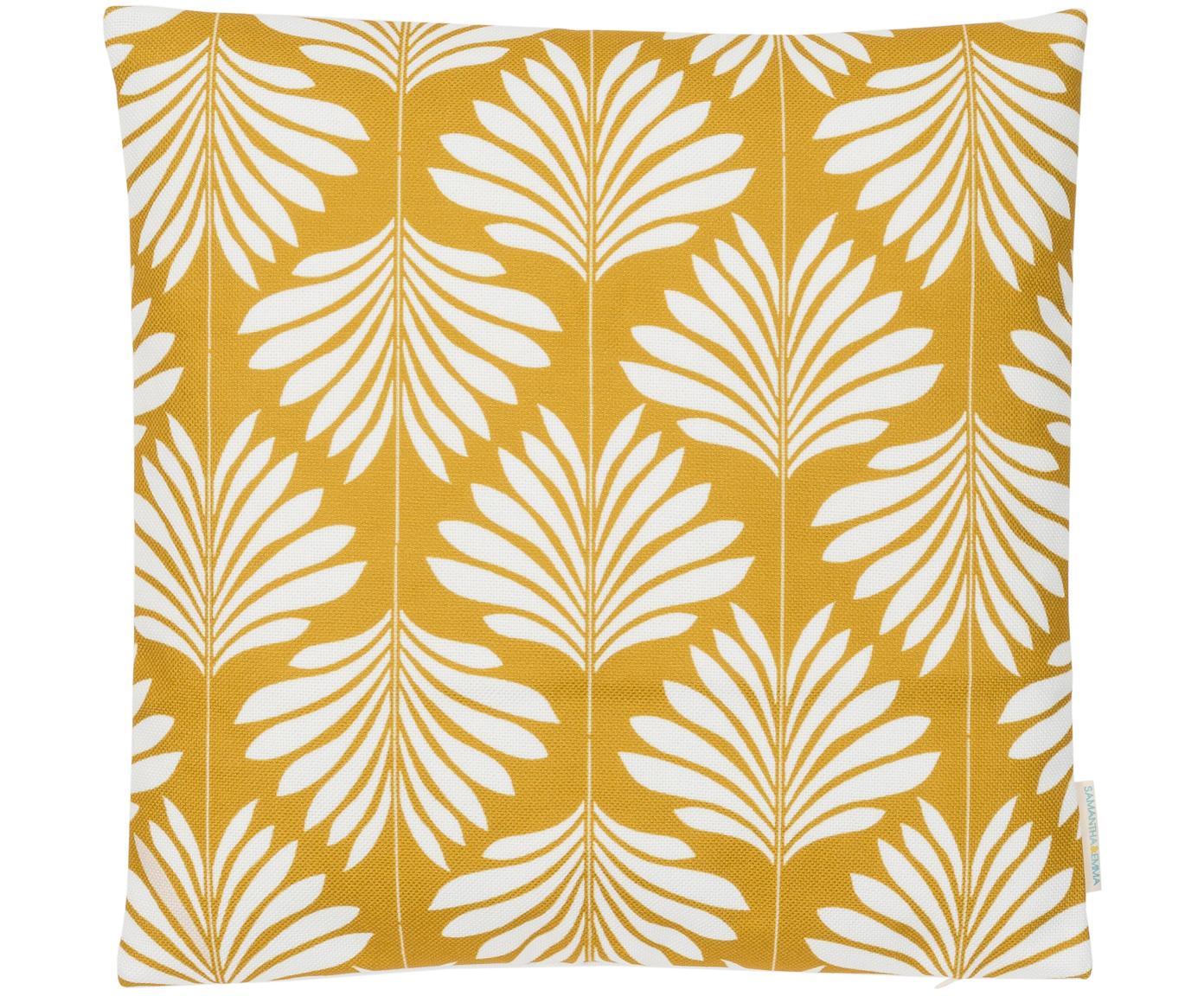 Funda de cojín de lino Agga, 60%lino, 40%algodón, Amarillo, blanco, An 45 x L 45 cm