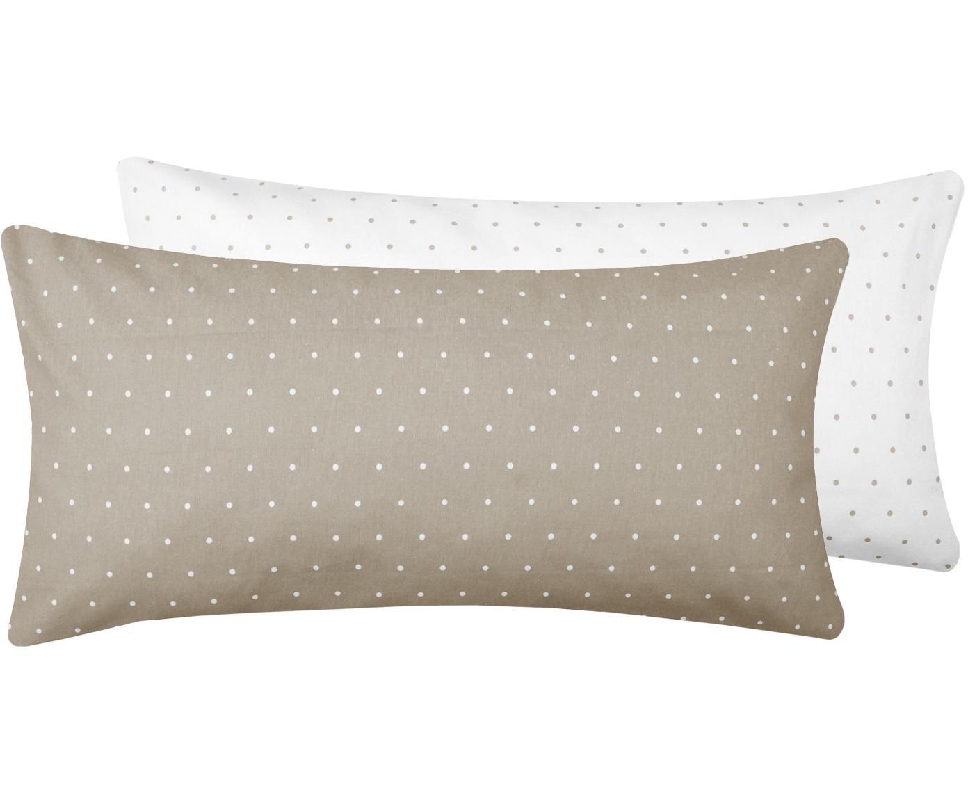 Dwustronna poszewka na poduszkę z flaneli Elisa, 2 szt., Beżowy, biały, S 40 x D 80 cm