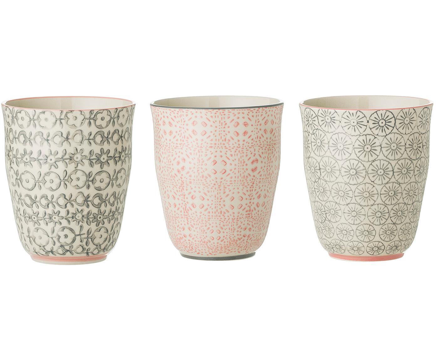 Set 3 tazze con piccolo motivo Cécile, Terracotta, Multicolore, Ø 9 x Alt. 10 cm
