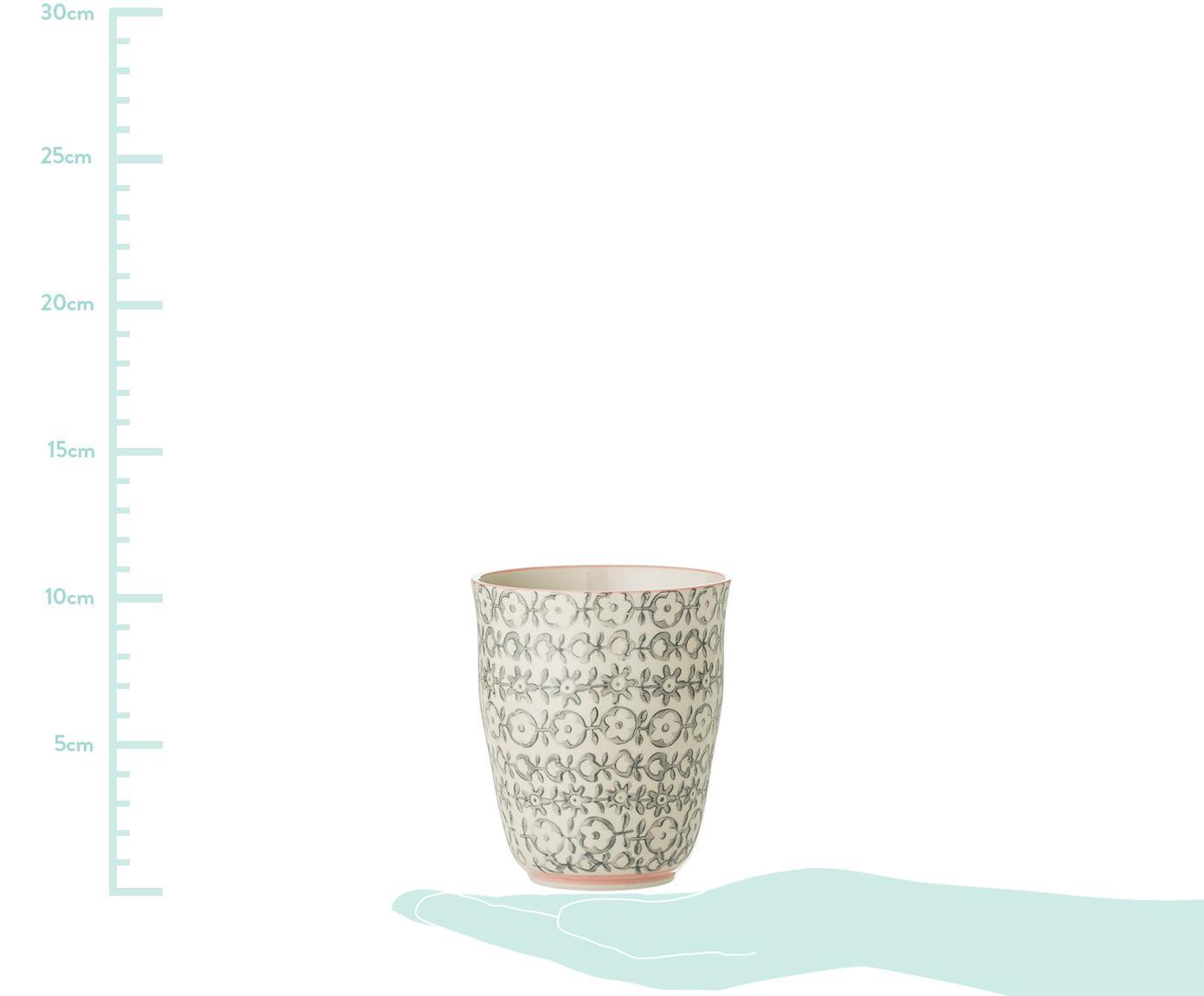 Becher Cécile mit kleinem Muster, 3er-Set, Steingut, Mehrfarbig, Ø 9 x H 10 cm