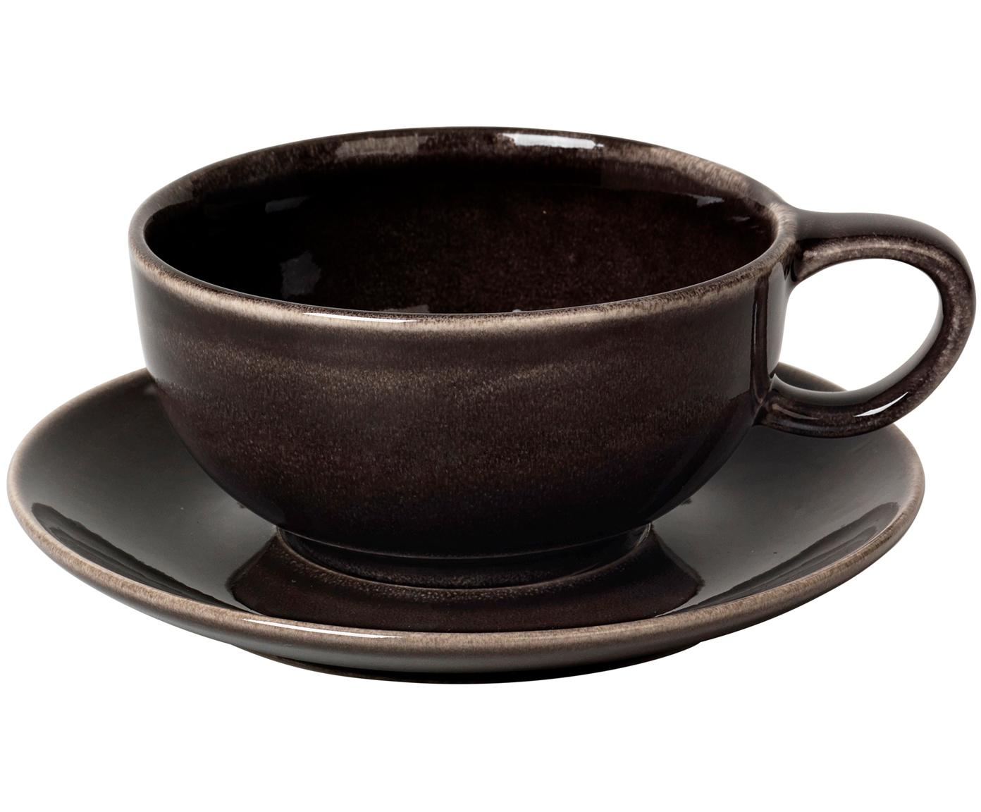Handgemachte Tasse mit Untertasse Nordic Coal, Steingut, Bräunlich, Ø 11 x H 5 cm