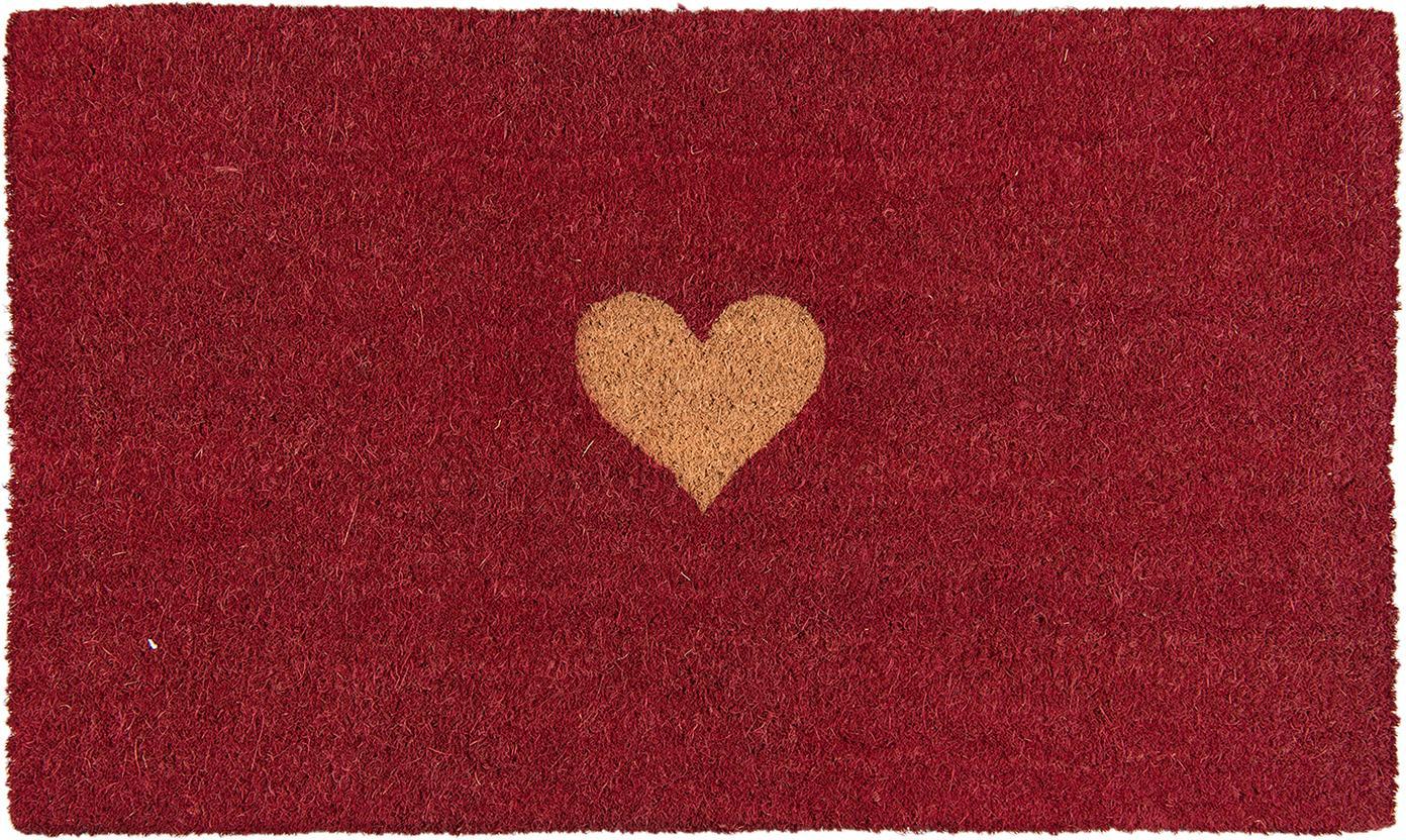 Fussmatte Heart, Oberseite: Kokosfaser, Unterseite: PVC, Rot, Braun, 45 x 75 cm