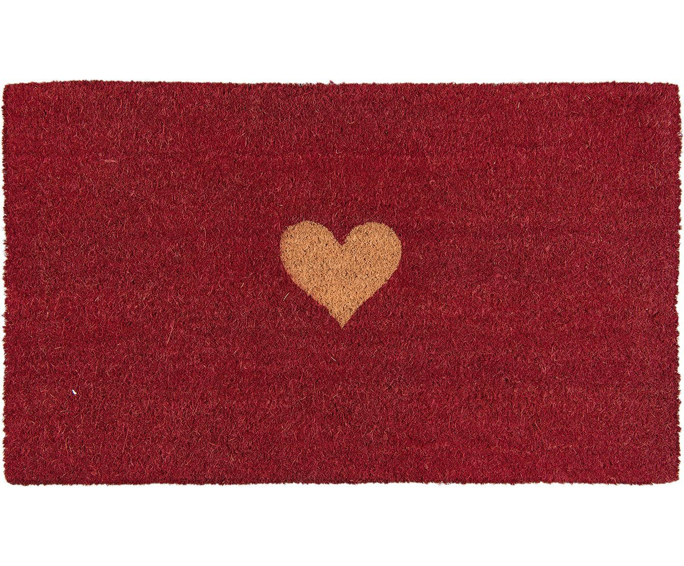 Fußmatte Heart, Oberseite: Kokosfaser, Unterseite: PVC, Rot, Braun, 45 x 75 cm