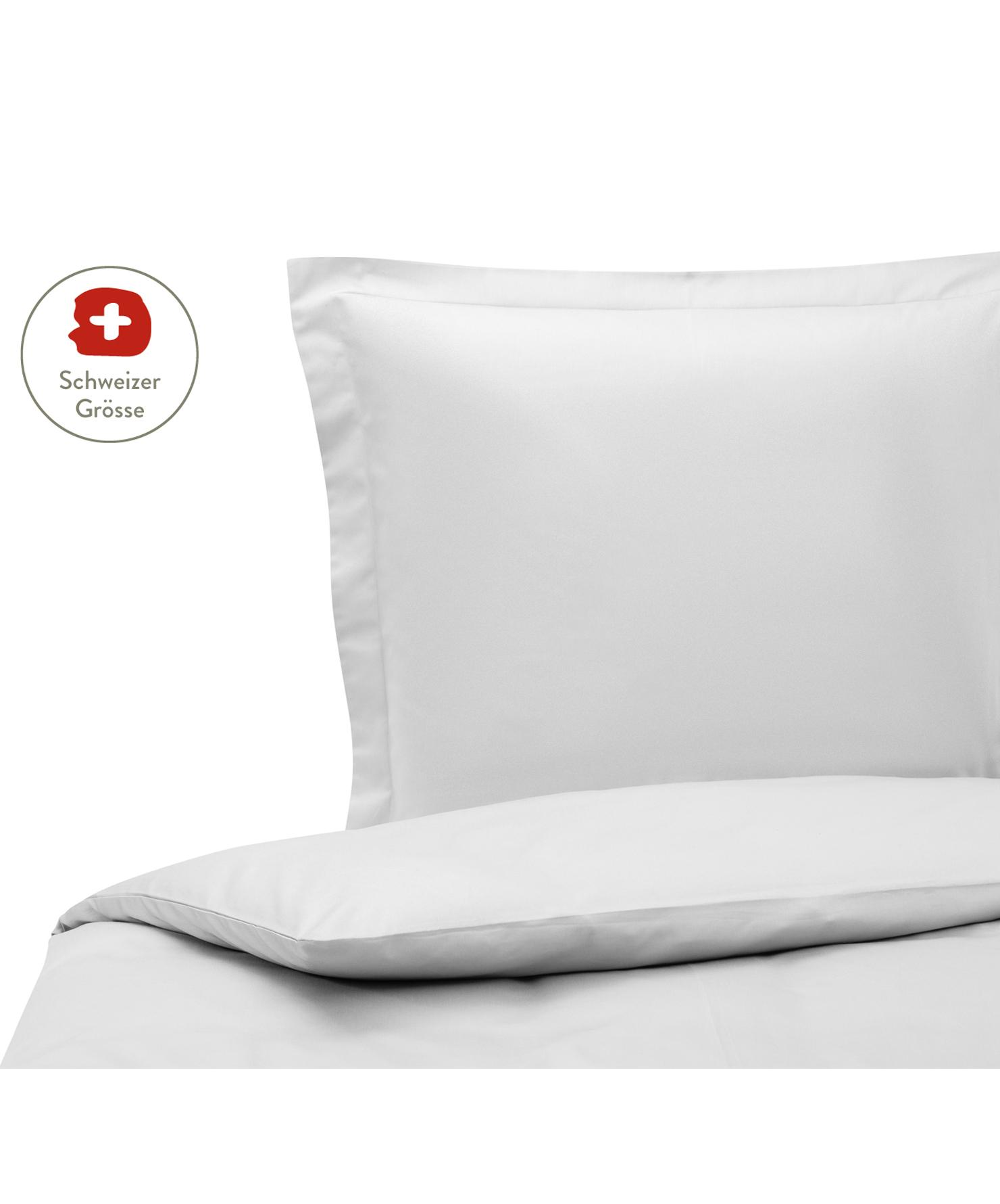Baumwollsatin-Bettdeckenbezug Premium in Hellgrau mit Stehsaum, Webart: Satin, leicht glänzend Fa, Hellgrau, 160 x 210 cm