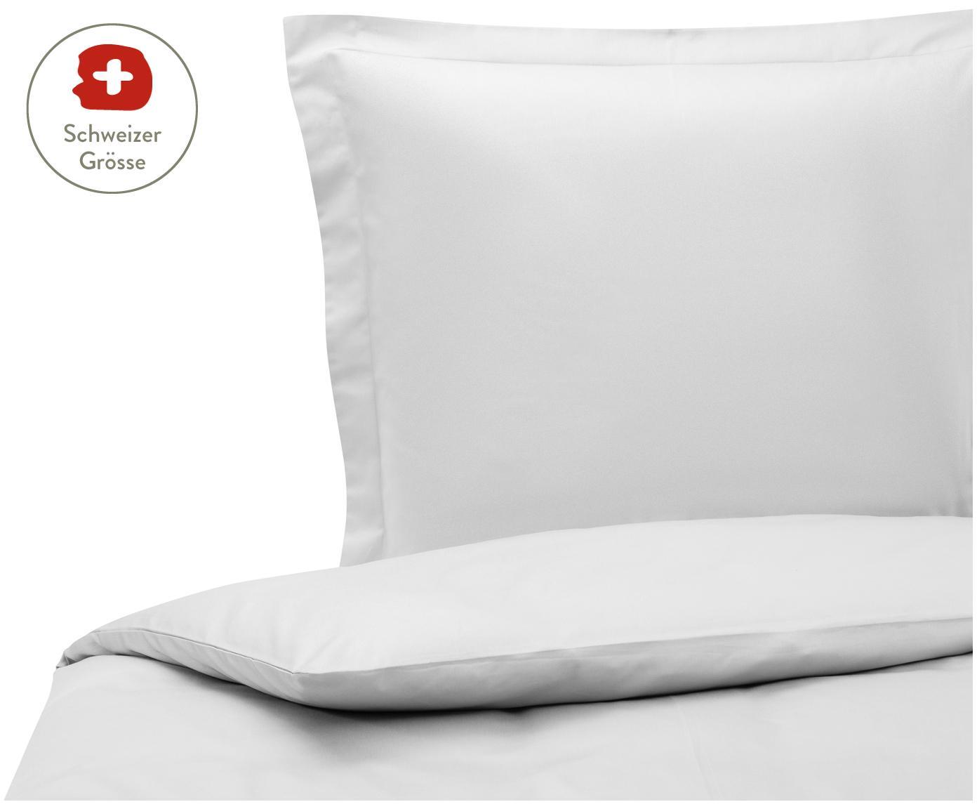 Baumwollsatin-Bettdeckenbezug Premium in Hellgrau mit Stehsaum, Webart: Satin, leicht glänzend, Hellgrau, 160 x 210 cm