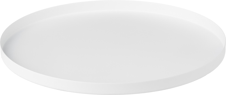 Rundes Deko-Tablett Circle in Weiss, Edelstahl, pulverbeschichtet, Weiss, matt, Ø 30 x H 2 cm