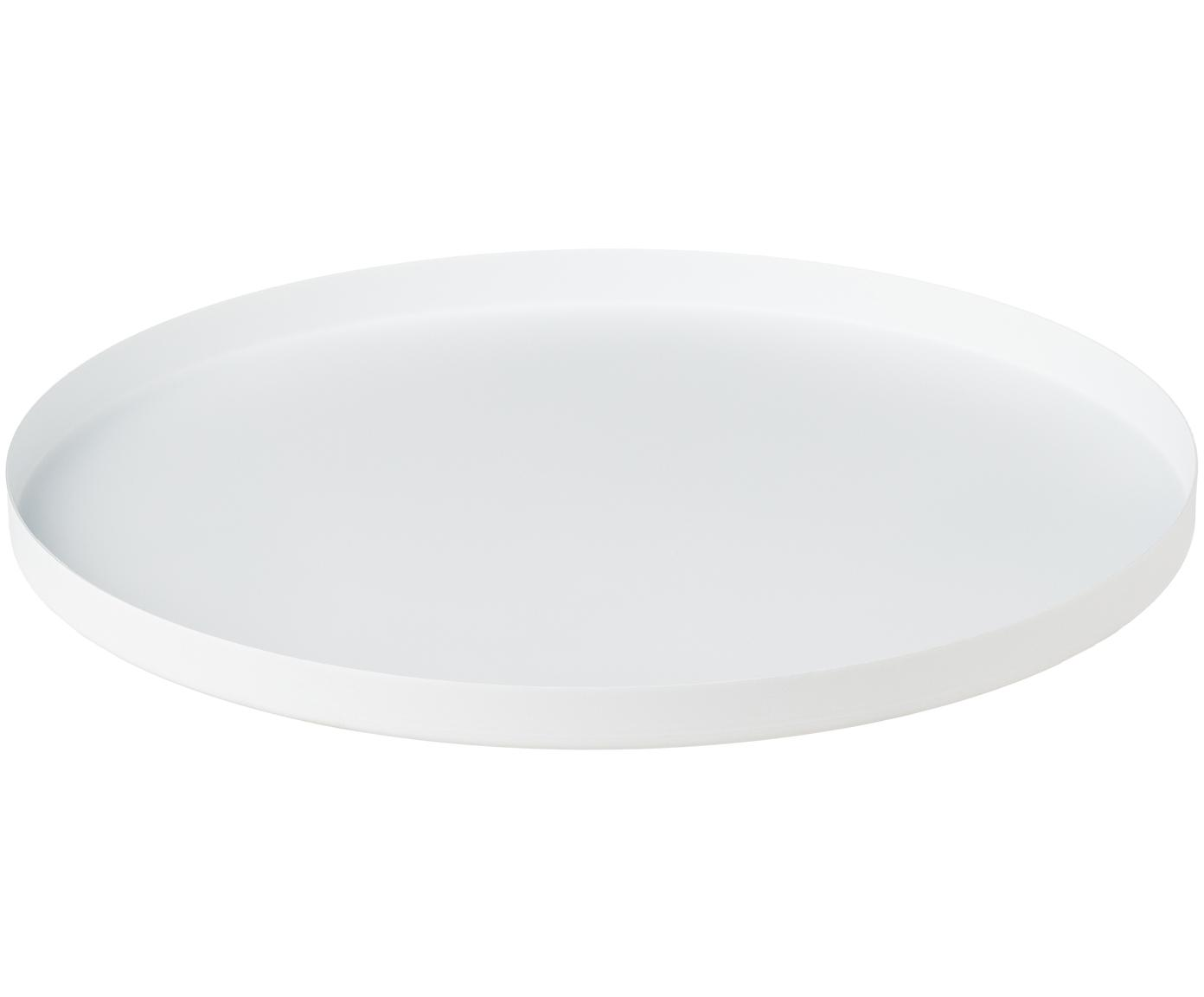 Bolvormige decoratief dienblad Circle in wit, Gepoedercoat edelstaal, Mat wit, Ø 30 x H 2 cm