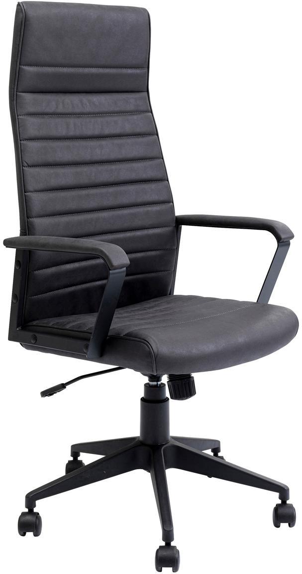 Kunstleder-Chefsessel Labora, Bezug: Kunstleder, Sitzschale: Pappel Massivholz, naturb, Schwarz, 58 x 128 cm
