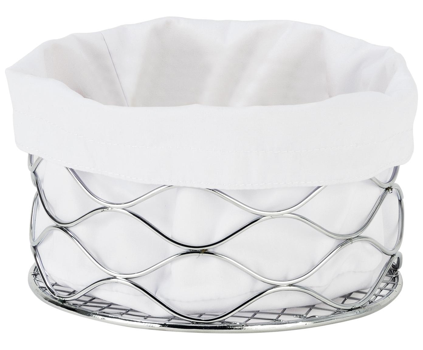 Broodmandje Alana met afneembaar tas, Broodmand: Metaal, verchroomd, Stoffen zak: 100% katoen, Zilverkleurig, wit, Ø 21 x H 11 cm