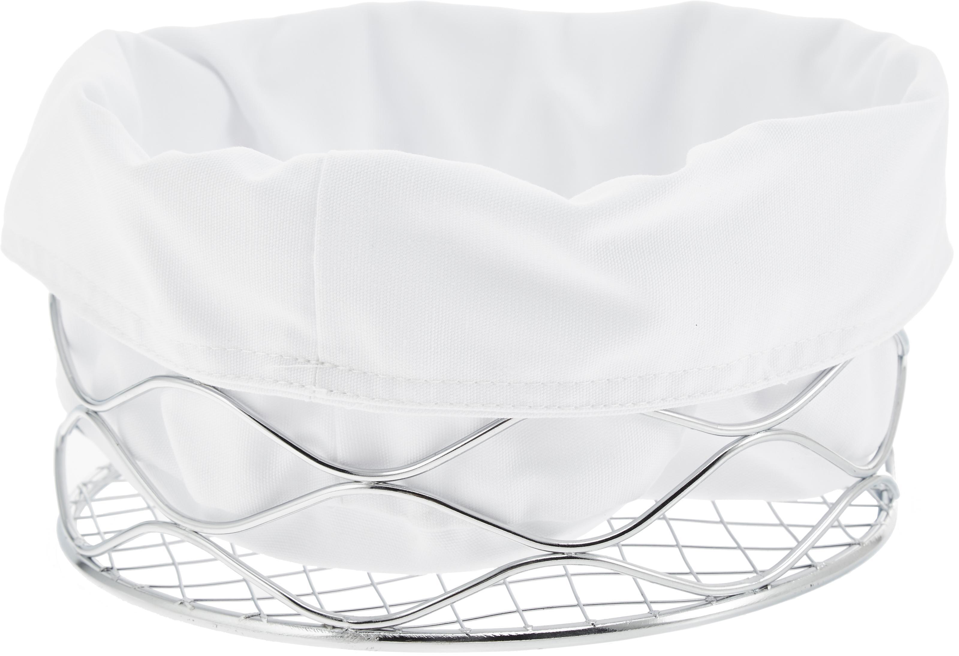 Cestino per pane Alana, Cromo, bianco, Ø 21 x 11 cm