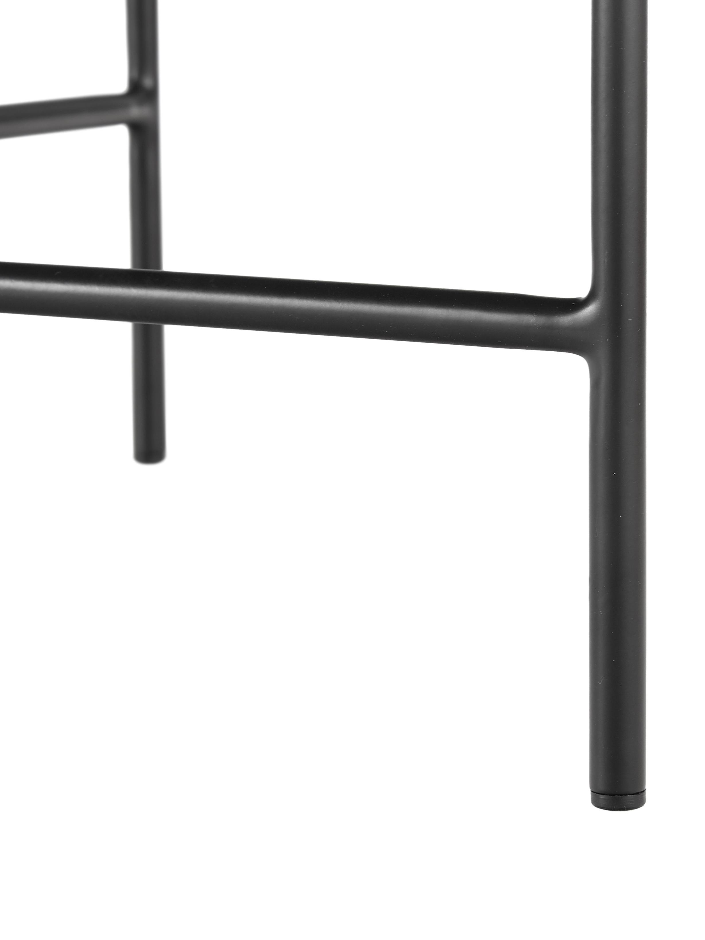 Schwarzer Couchtisch Mica mit Holzplatte, Tischplatte: Mitteldichte Holzfaserpla, Gestell: Metall, pulverbeschichtet, Tischplatte: Eichenholzfurnier, schwarz lackiertBeine: Schwarz, matt, Ø 82 x H 41 cm