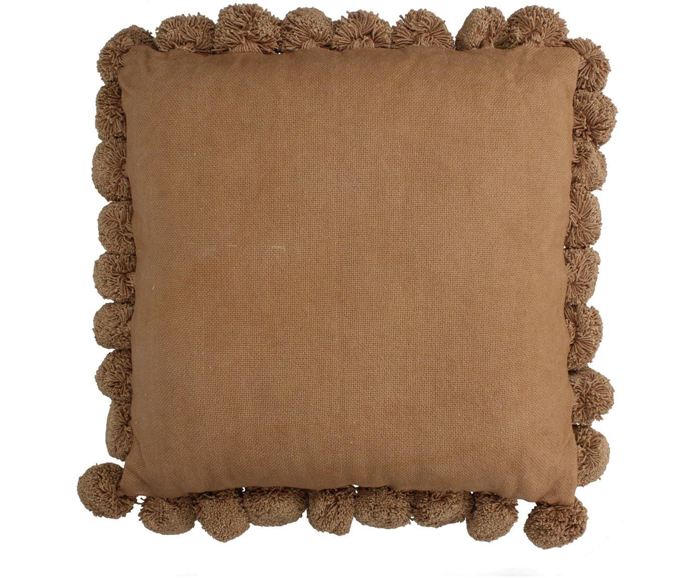 Cojín con pompones Betta, con relleno, Funda: 100%algodón, Melocotón, An 45 x L 45 cm