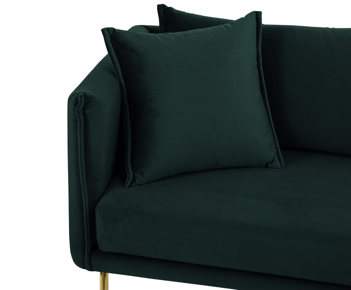 Samt-Sofa Ivy (2-Sitzer), Bezug: Samt (Polyester) 15.000 S, Gestell: Metall, Bezug: DunkelgrünBeine: Goldfarben, B 170 x T 75 cm