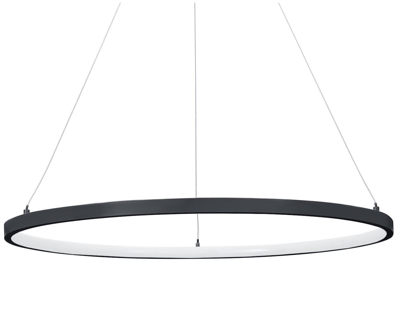 LED hanglamp Jay, Baldakijn: gepoedercoat aluminium, Lampenkap: gepoedercoat aluminium, k, Baldakijn: mat zwart. Lampenkap: mat zwart. Snoer: zilverkleurig, Ø 60 x H 150 cm