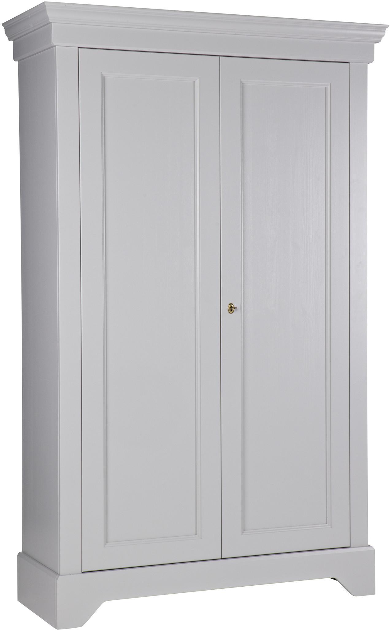 Schrank Isabel aus Kiefernholz, Korpus: Kiefernholz, lackiert, Betongrau, 118 x 191 cm