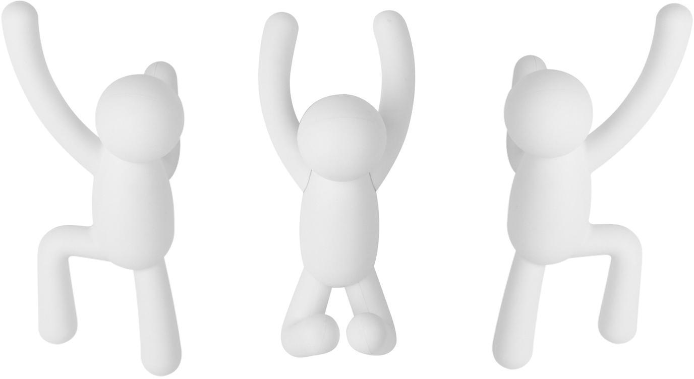 Set 3 ganci appendiabiti da parete Buddy, Materiale sintetico ABS, Bianco, Set in varie misure