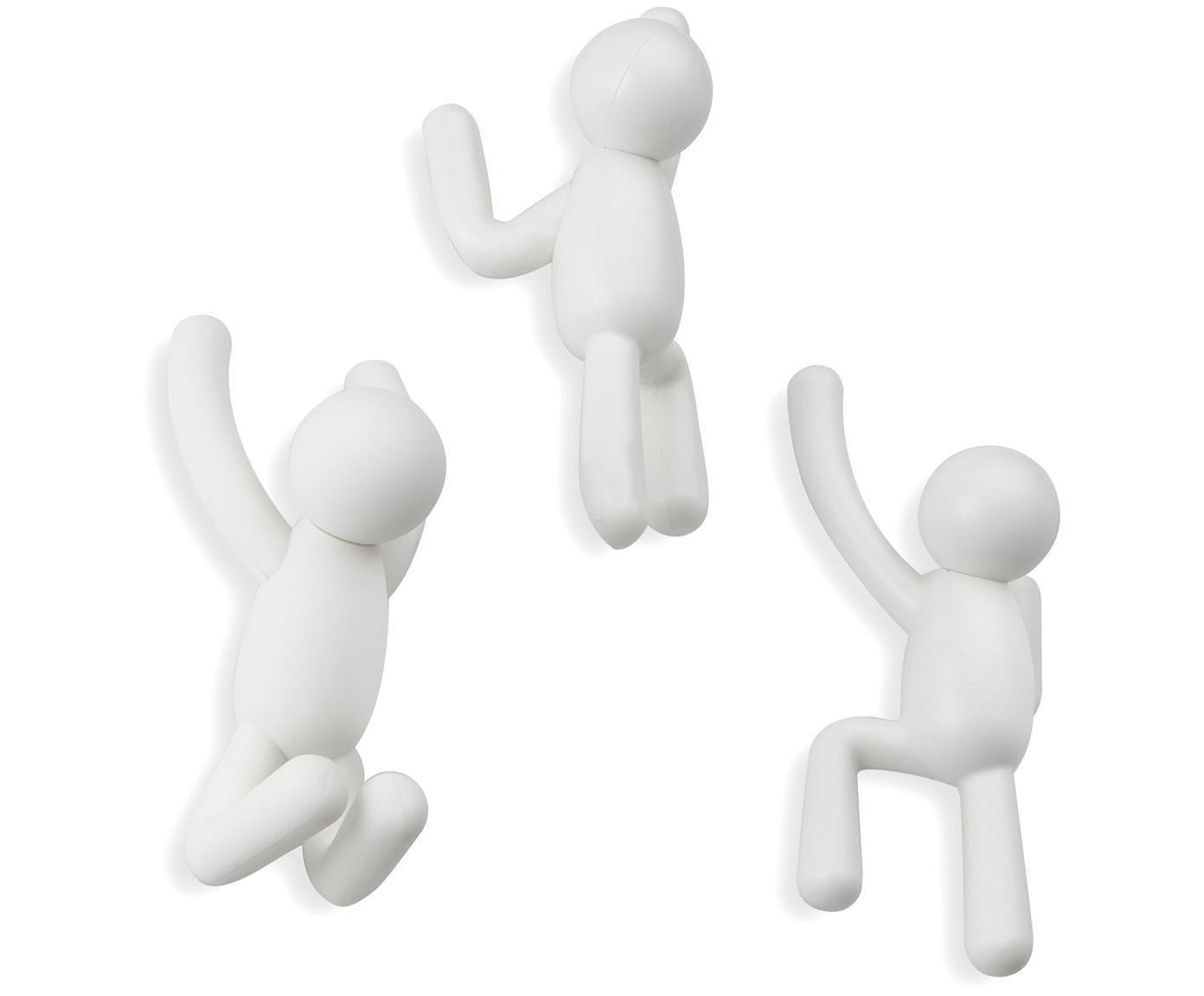 Design Wandhaken-Set Buddy, 3-tlg., ABS-Kunststoff, Weiß, Sondergrößen