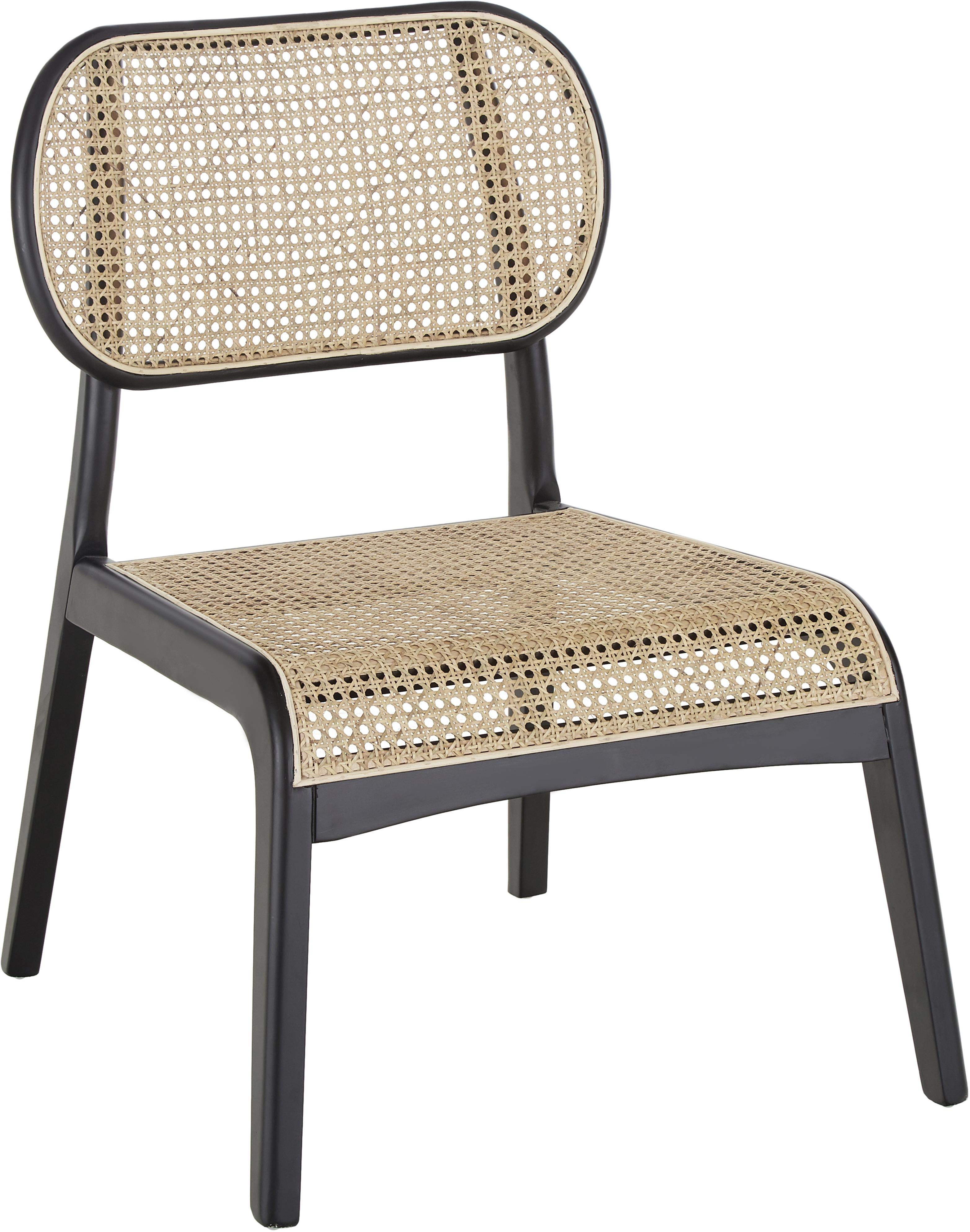 Loungefauteuil Franz met Weens vlechtwerk, Zitvlak: rotan, Frame: massief gelakt berkenhout, Zitvlak: rotankleurig. Frame: zwart gelakt berkenhout, B 61  x D 63 cm