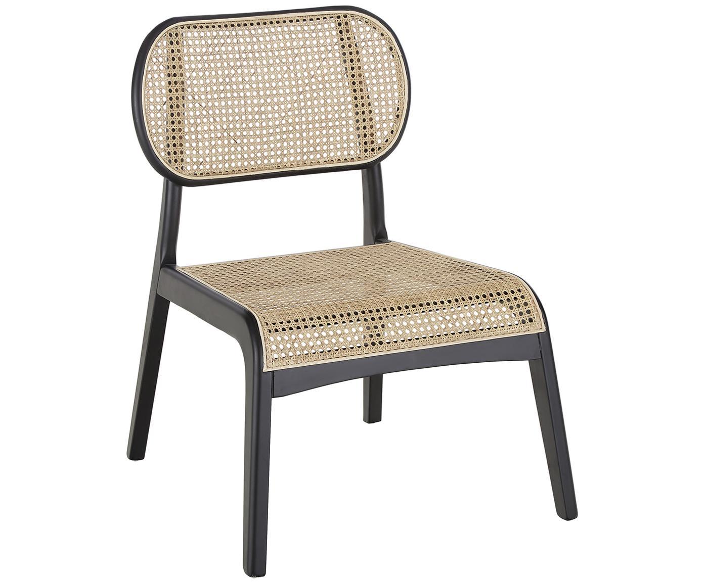 Loungesessel Franz mit Wiener Geflecht, Sitzfläche: Rattan, Gestell: Massives Birkenholz, lack, Sitzfläche: RattanGestell: Birkenholz, schwarz lackiert, B 61 x T 63 cm