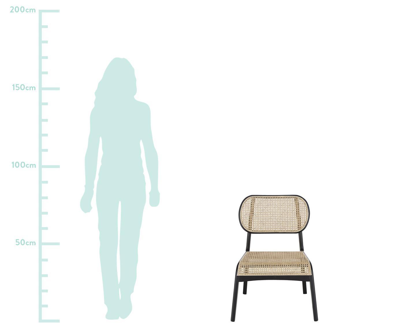Fotel wypoczynkowy z plecionką wiedeńską Franz, Stelaż: lite drewno brzozowe, lak, Siedzisko: rattan Stelaż: drewno brzozowe, czarny lakierowany, S 61 x G 63 cm