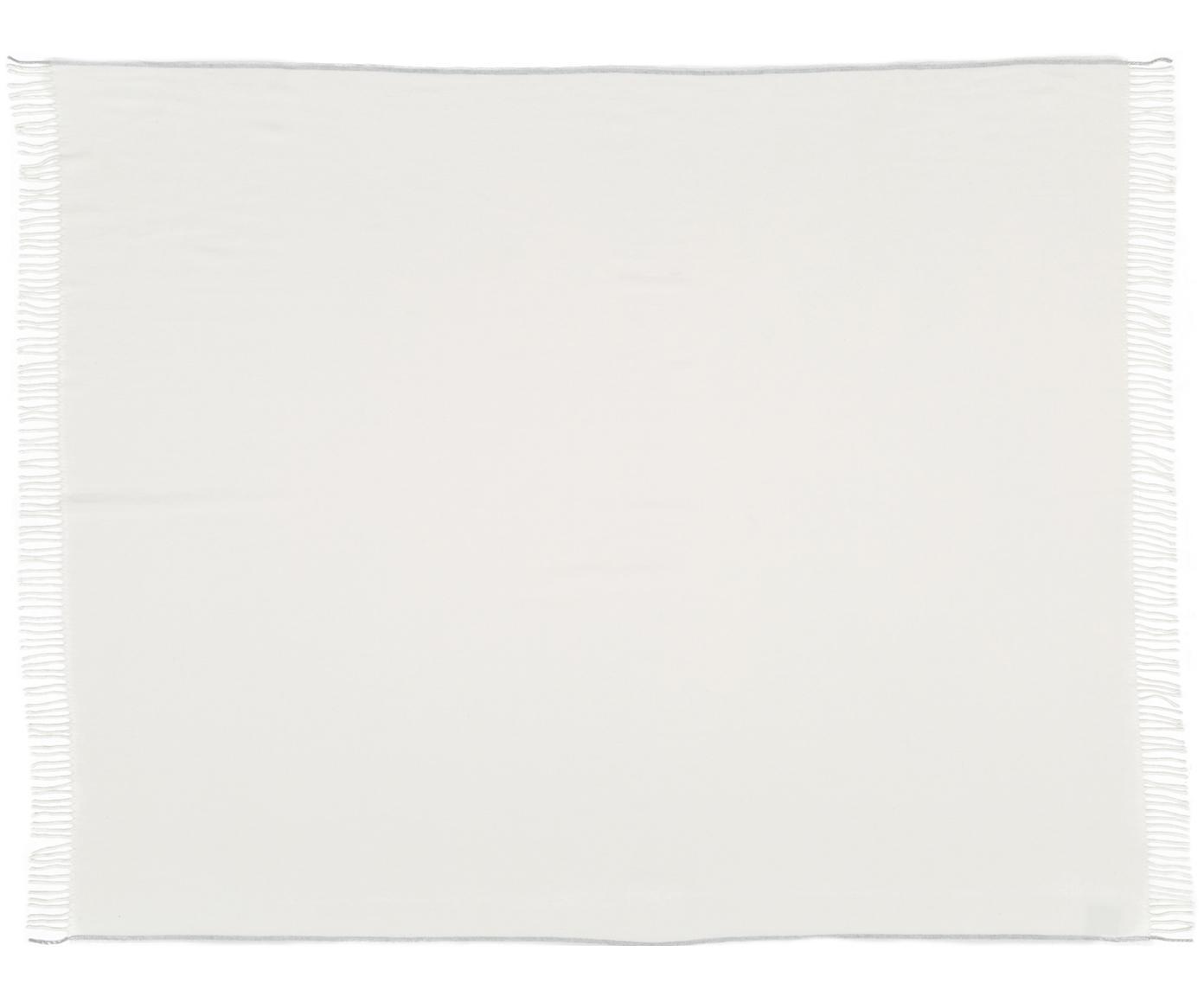 Pled Inka, 50%poliakryl, 50%bawełna, Kość słoniowa, jasny szary, S 130 x D 170 cm