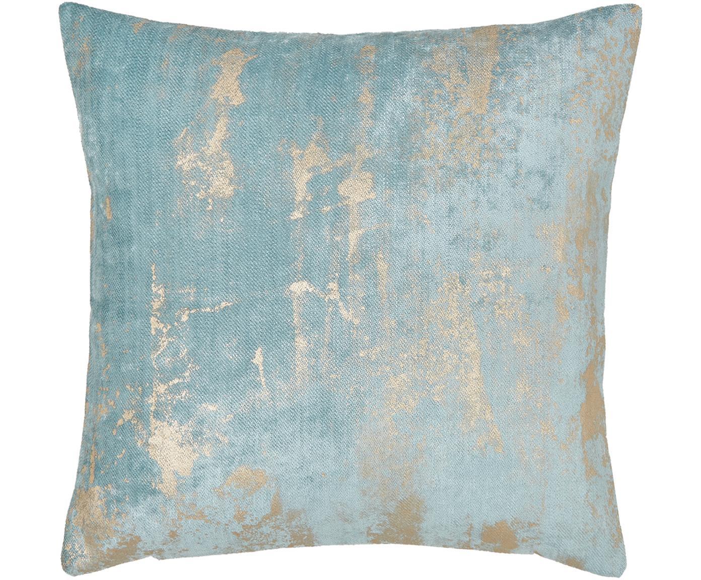 Fluwelen kussenhoes Shiny met glinsterend vintage patroon, Bovenzijde: polyesterfluweel, Onderzijde: polyester, Licht turquoise, 40 x 40 cm