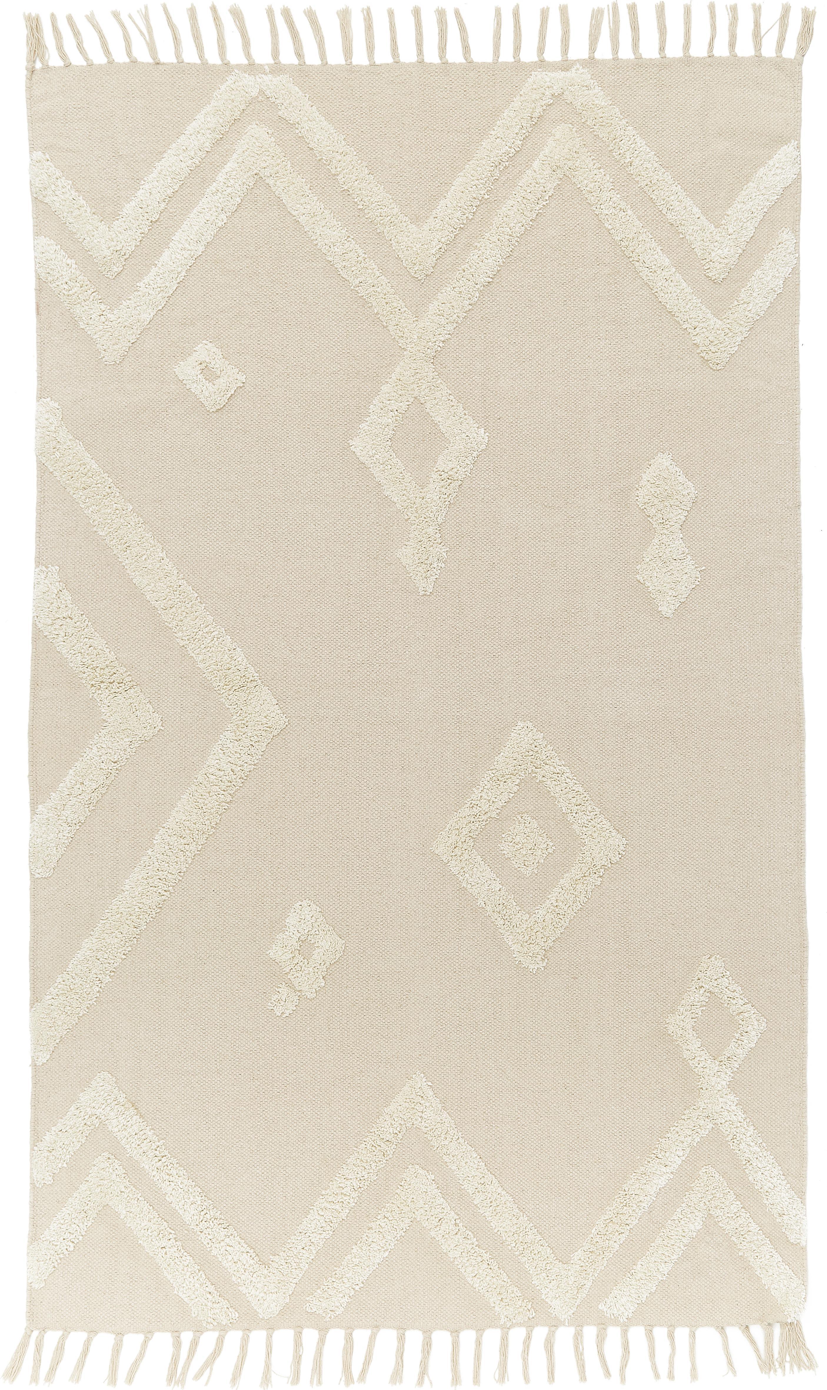 Teppich Canvas mit getufteter Verzierung, 100% Baumwolle, Gebrochenes Weiß, B 150 x L 200 cm (Größe S)