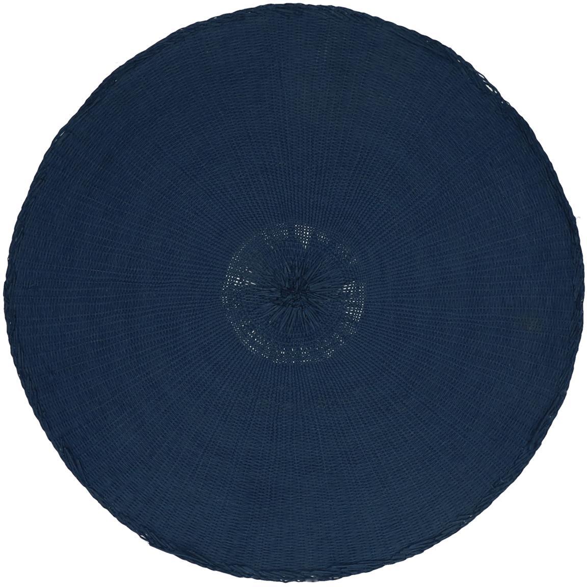 Runde Tischsets Kolori aus Papierfasern, 2 Stück, Papierfasern, Blau, Ø 38 cm